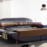 Exquisite Linen Fabric Sofa Bed,Asian Simple Fashion Style Double Bed Solid Wood Feet,Morden Bedroom Sets Furniture