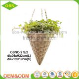 wholesale wicker eco friendly outdoor handicraft plant basket willow decoration flower hanging basket