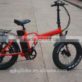 2017 high quality electric folding fat tire bicycle beach cruiser ebike with suspension seatpost