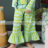 2014 New arrival Kid Girls Capris Cotton Pants Girls stripe Ruffle Pants Casual Kids Ruffles Trousers Summer Girls Leggings