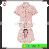 Cherry blossom printed silk sexy adult footie pajamas ladies western sets