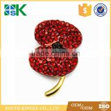 2017 Customized Red Poppy Brooch Rhinestone Crystal Gold Plated Badge Pin Remembrance Day Awareness