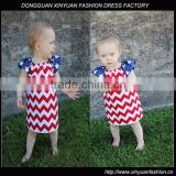 Fourth of July Chevron Peasant Dress for Baby Girl XYD2812