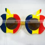 Promotion Romania flag apple shape sunglass,custom plastic sunglass,partito occhiali da sole gafas de sol del partido