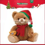 CE approved Stuffed plush teddy bear toy with christmas hat and scarf