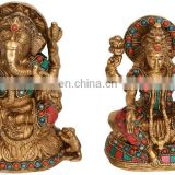 "Indian GOD Jai Ganesha Lakshmi Statue 6.4"" Golden Brass Stone Art Hindu Sculpture Ganesha Religious Idol Lord Art Wholesale"