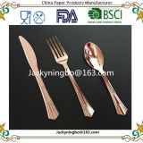 Amazon New Fashion Products Disposable Plastic Rainbow Gold Coated Plastic Cutlery Which Can Pass FDA or LFGB Test.