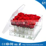 Wholesale clear wedding flower acrylic box, beautiful acrylic rose flowers display boxes