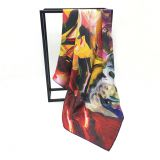 Fashion Design Low MOQ  Custom Digital Printing Leopard  Heavy Silk Scarf