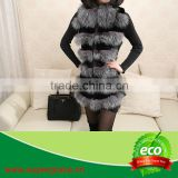 New Year Special Style Lady's Real Silver Fox Fur & Rabbit Pelt Waistcoat