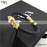2016 New Real Navy Blue Leather Python Twins Skull Stainless Steel Bracelets With Higher End Quality Standard