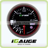 52mm 3 colors LED display auto gauge with warning and peak recall function Electrical Turbo Boost Gauge