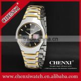 classic hot sale new calendar watch , gold plated 5ATM waterproof gold double date watch for couples 601A
