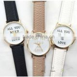 Best price Women's Men's ALL YOU NEED IS LOVE Faux Leather Dial Analog Quartz Wrist Watch