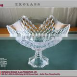 high qulity Transparent Glass Plate/wholesale unbreakable /domestic candy fruit glass plate with foot (glass factory)