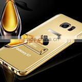 KXX Gold Series stainless steel holder case with acrylic back plate for Samsung S7 Luxury metal Mirror Back Stand case
