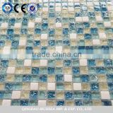 popular ice crakle glass mosaic tiles mixed with stone                                                                                                         Supplier's Choice