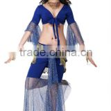 Glittering belly dance practice costume/wear for belly dancers , with hip scarf (QC2068)