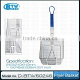 Regular Steel Wire Grill Basket with Single Front Hook and Plastic Coated Handle