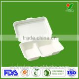 Biodegradable sugarcane pulp 3-compartment containers with lids