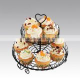 YG1124-2 Iron 2 layer Cupcake Cake Holder Stand for 12cups, black powder coating