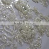 Wholesale Fashion Embroidery Bridal Pearl Beaded Lace /velvet lace manufacturer/champagne color lace applique/ cord lace fabric