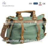 Cotton classic antique gold casual 16oz fashion canvas bag leather handles duffle handbags for travel