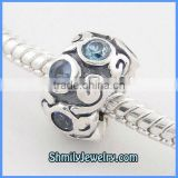 Wholesale European Antique Sterling Silver Blue CZ Beads BCZ18A
