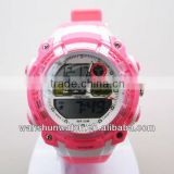 factory custom pink color plastic strap chronograph japan movement fashion digital stop watch for ladies