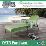 Outdoor folding aluminum sling rattan beach lounge chair