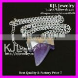 GZKJL-CT0383 Natural Silver Plated Amethyst shark teeth tooth pendant druzy necklace