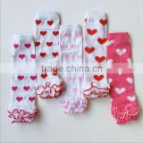 JPANT150403 New heart print cotton leg warmers tights toddler baby socks children ruffle