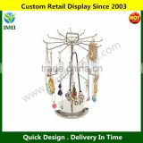 Silver Metal Jewelry Organizer Tower Necklace Tree Bracelet Display Stand w/ Hairclip Holder YM6-384