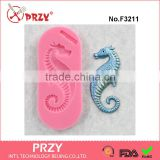 F3211 Seahorse Silicone Mold Mould for fondant, resin, polymer clay, chocolate, wax, ceramic clay