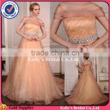 luxurious flare fabric off-shoulder with bling rhinestone crystals beading belt sexy champagne chiffon evening dress