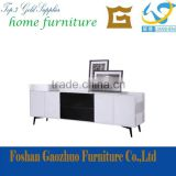 2016 hot sale white &black lacquered with strong steel legs low cabinet in living room furntiure