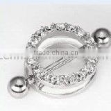 Gemmed nipple barbell ring body piercing jewelry