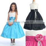 Real appliqued taffeta adjust sash T-length flower girl dresses CWFaf4205