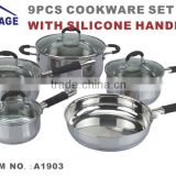 modern kitchen design 9pcs kitchen cabinet item stainless steel kitchen queen cookware set with glass lid