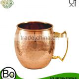 Copper Moscow Mule Barrel Hammered Mug with Brass Handle 8 Oz Nickel Plated