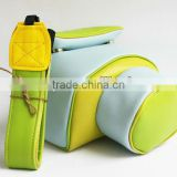 neoprene camera bag with leather strap