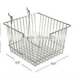 "New 9.5"" Wide Chrome Wire Basket for Pegboard/Slatwall Displays"