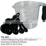 Hot!1000ml plastic measuring cup with spoons(TH081)