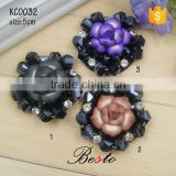 Antique rose shape glass bead rhinestone shoe accessories flower for women shoes