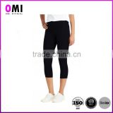 New arrival woman yoga fitness capri legging pants with double coin pockets on the waistband