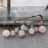 Natural rose quartz beads charms brooch hand work stone charms safety pins for valentine gifts