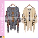 The Most Hot Selling New 2016 Tassels Poncho Women Half Bat Sleeve Knit Sweater Wholesale