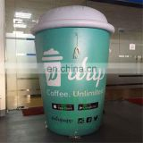 Eye Catching Custom Size Green and White Giant Inflatable Coffee Cup Balloon Advertising Model