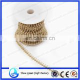 Wholesale pearl and crystal cup chain metal cup chain trim applique for decoration