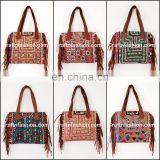 Indian 2017 Stylish Banjara Leather Fringes Handbag- Vintage Banjara Mirror Work Leather Fringes Bag- Gypsy Tribal Ethnic bag